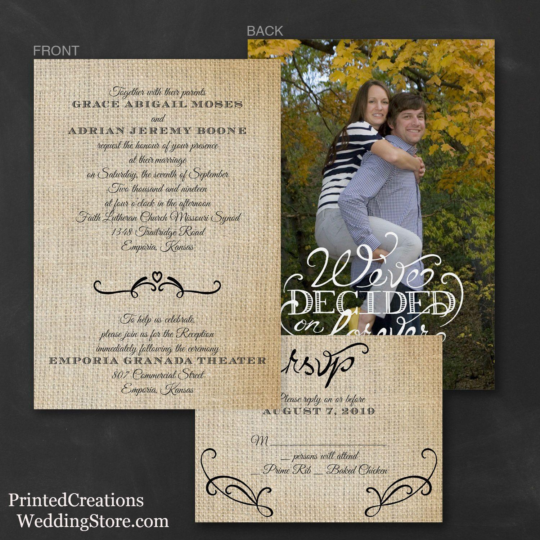 Love Burlap ValStyle Invitation Burlap wedding theme