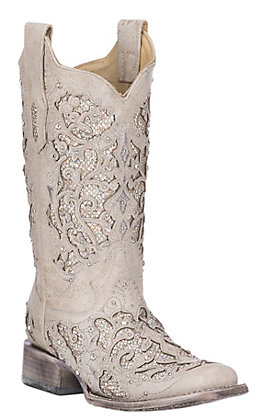 Photo of Corral Women's White with White Glitter & Crystals Inlay Wed