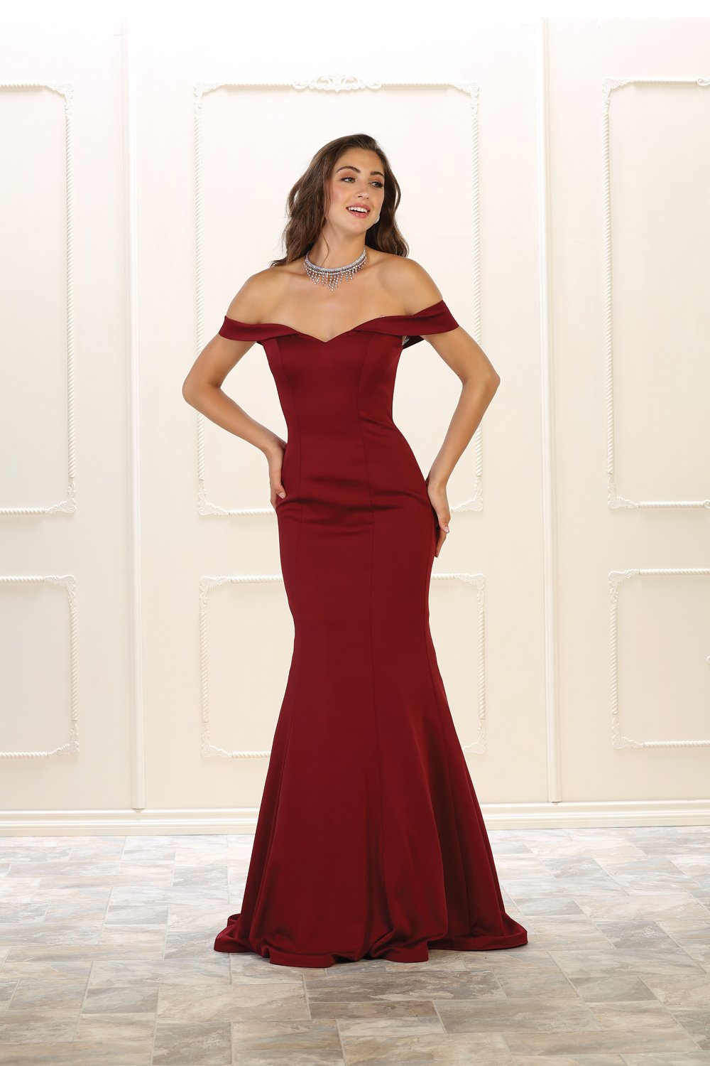 bab6b4b96bcb This amazingly gorgeous long prom dress features an off shoulder neckline.  Fitted mermaid style design perfect for any special occasion.