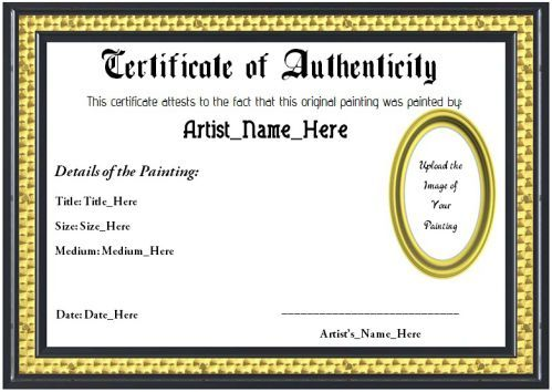 Art certificate of authenticity template art certificate templates art certificate of authenticity template yelopaper Gallery