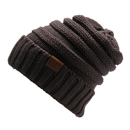 48a5ac1930b447 BONJEAN Women Winter warm Wool Knit Hats Autumn Fashion CC labeling slouchy  beanie Men Warm Thick skullies Casual Knitted Caps