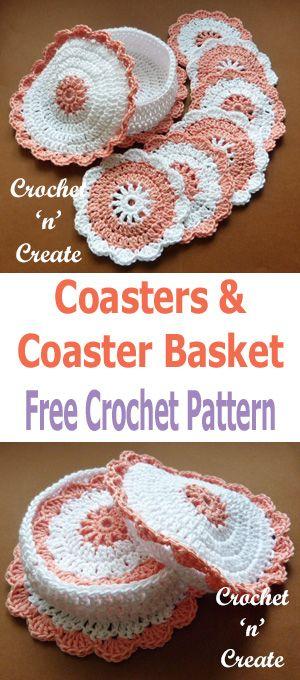 Crochet Coasters-Basket uk Free Crochet Pattern   flakon   Pinterest ...