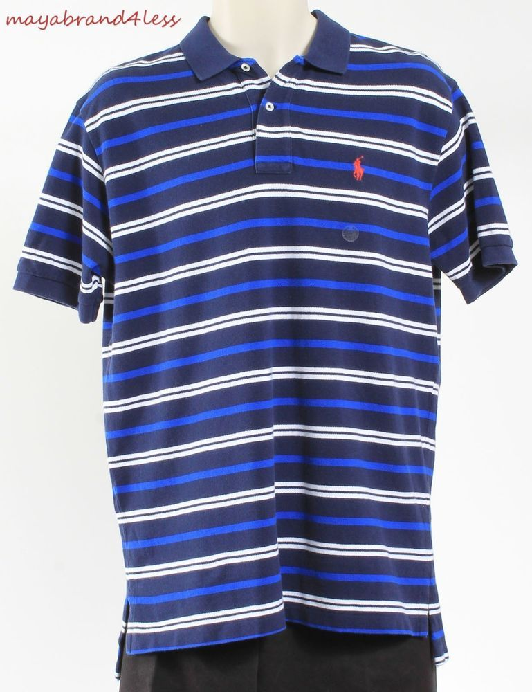 RALPH LAUREN POLO MENS SHIRT SHORT SLEEVE POLO STRIPED NAVY SZ M OUTLET  PRICE #RALPHLAUREN