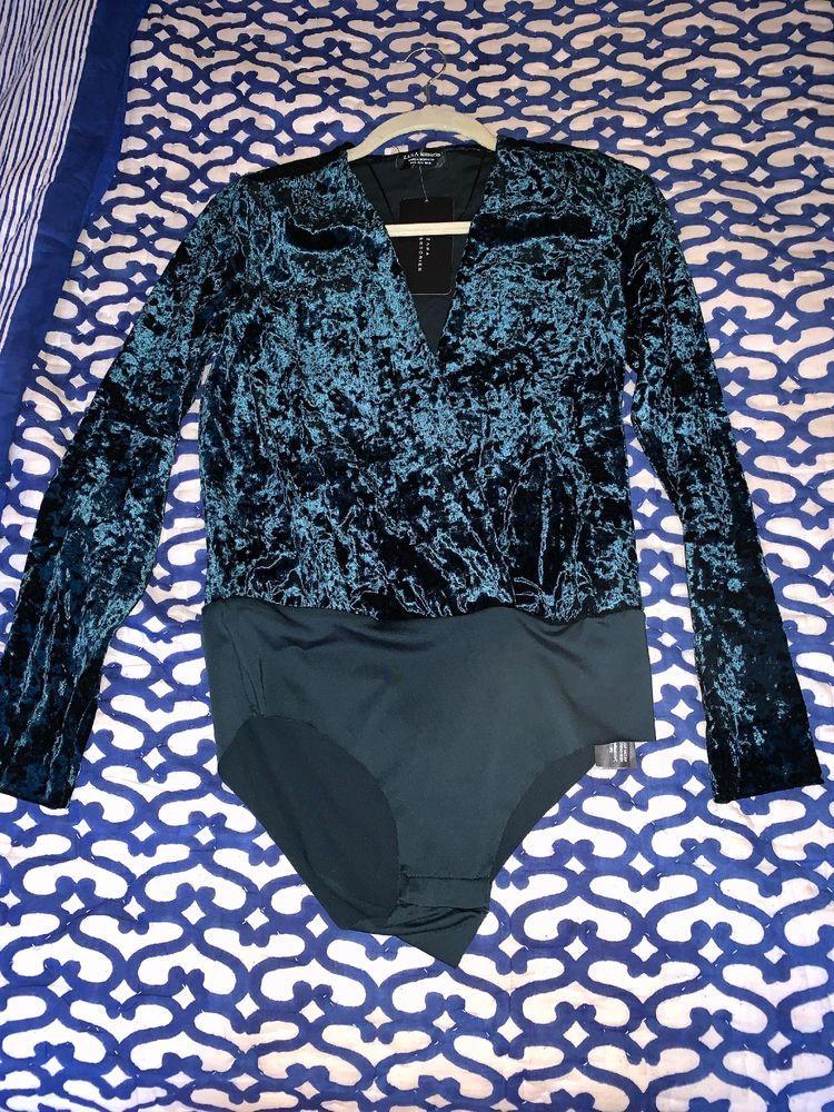 Zara Bodysuit Small Green Velvet  fashion  clothing  shoes  accessories   womensclothing   6b1c37245
