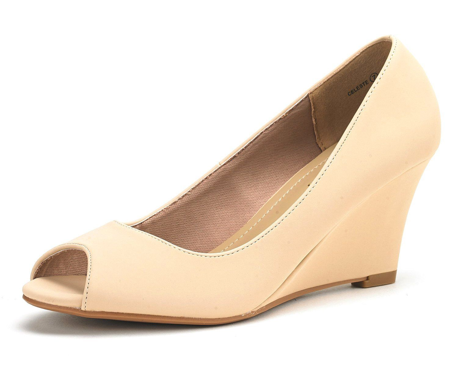 19c596f9f DREAM PAIRS CELESTE Women's Elegant Classy Open Toe Mid Heel Wedge Platform  Pumps Slip On Shoes New NUDE-NUBUCK SIZE 5