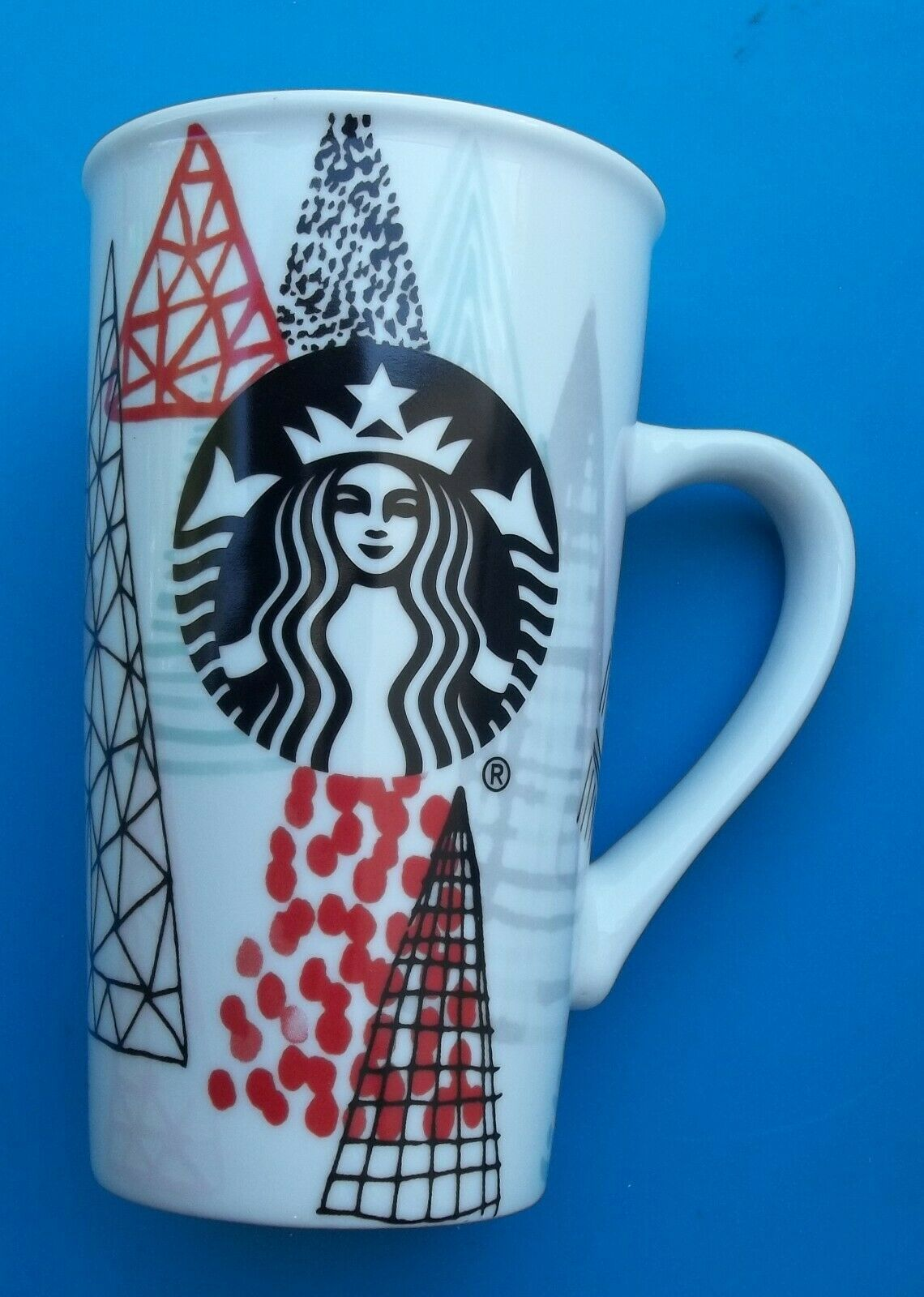 STARBUCKS Tall Coffee Cup 16oz Trees Design Christmas Nice