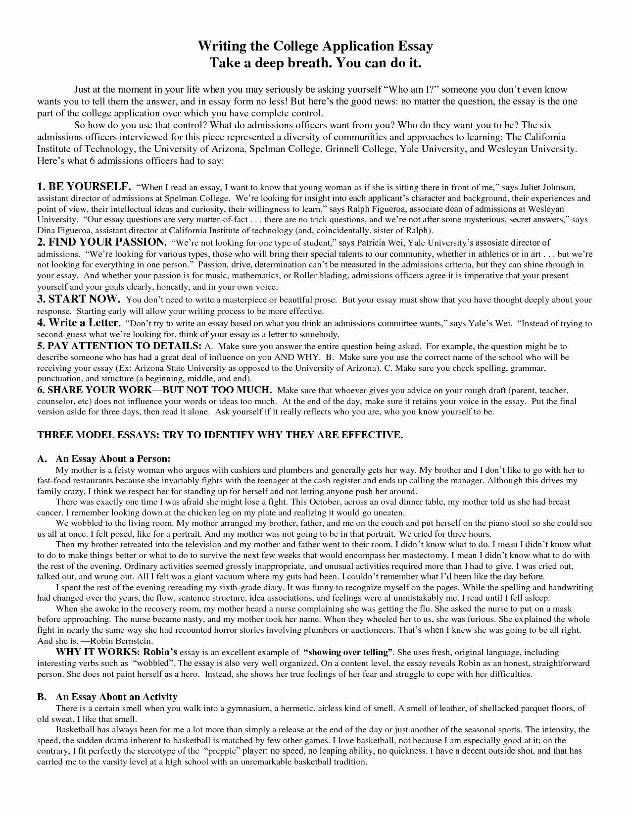 Essay Graduate School Admission Example Elegant College Admission