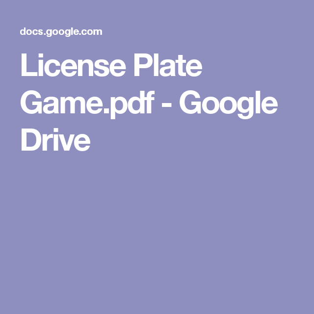 License Plate Game Pdf Google Drive Double Entry Games