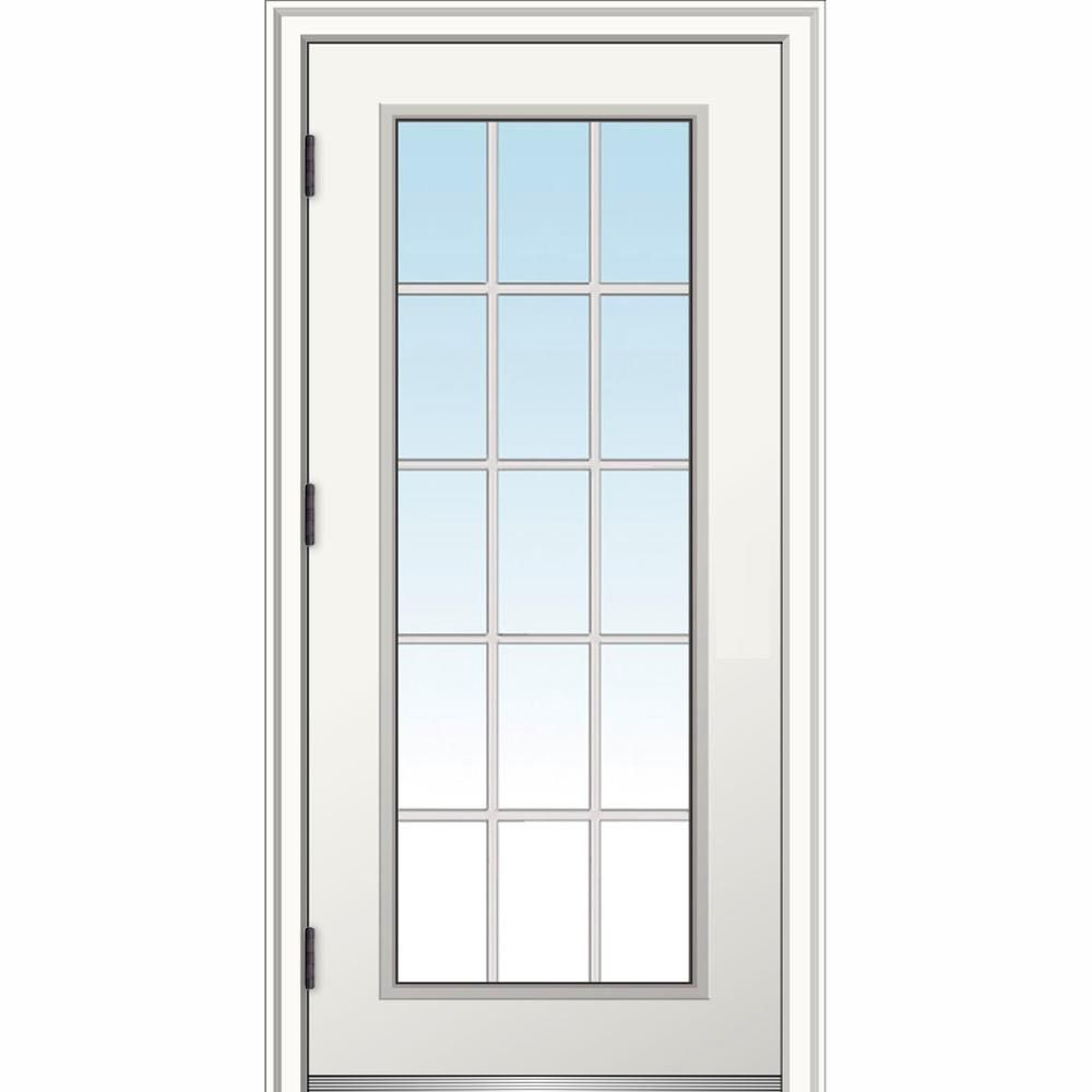 Mmi Door 32 In X 80 In Classic Right Hand Outswing 15 Lite Clear Low E Primed Steel Prehung Front Door With Brickmould Z0364624r Entry Doors Exterior Doors House Design