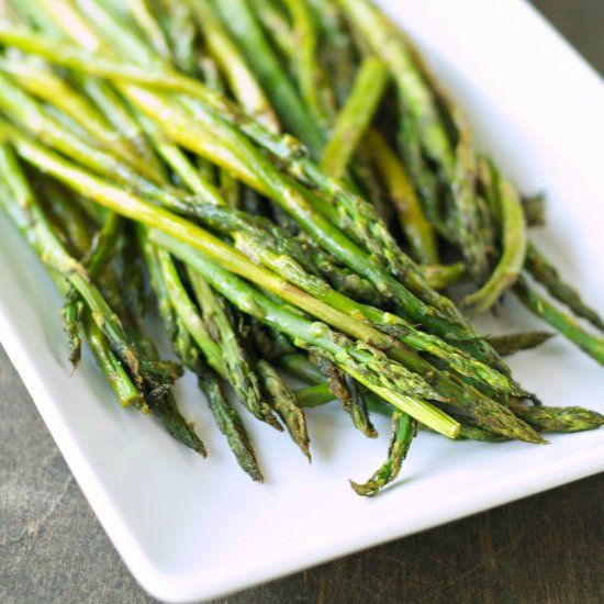 Fabulous farmer's market find!  Delicious, fresh and crisp asparagus roasted in a simple lemon pepper and salt seasoning!