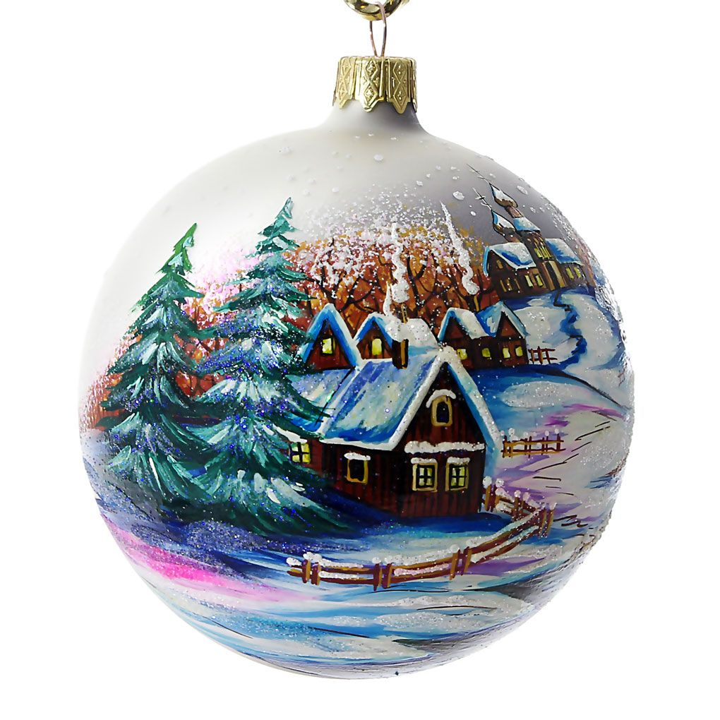 Countryside hand painted christmas ball made in ukraine for Christmas glass painting