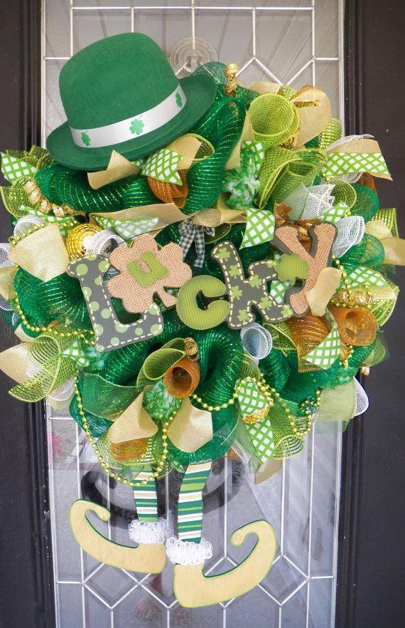 st patrick 39 s day wreath st patrick 39 s decoration wreath for door leprechaun wreath green. Black Bedroom Furniture Sets. Home Design Ideas