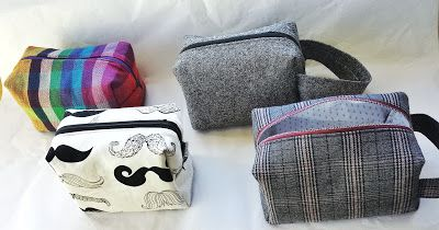 handmade eco friendly boxy pouches, box bags, eco-sewing, refabulous