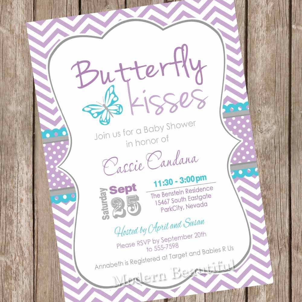 Butterfly kisses baby shower invitation, butterfly baby shower ...