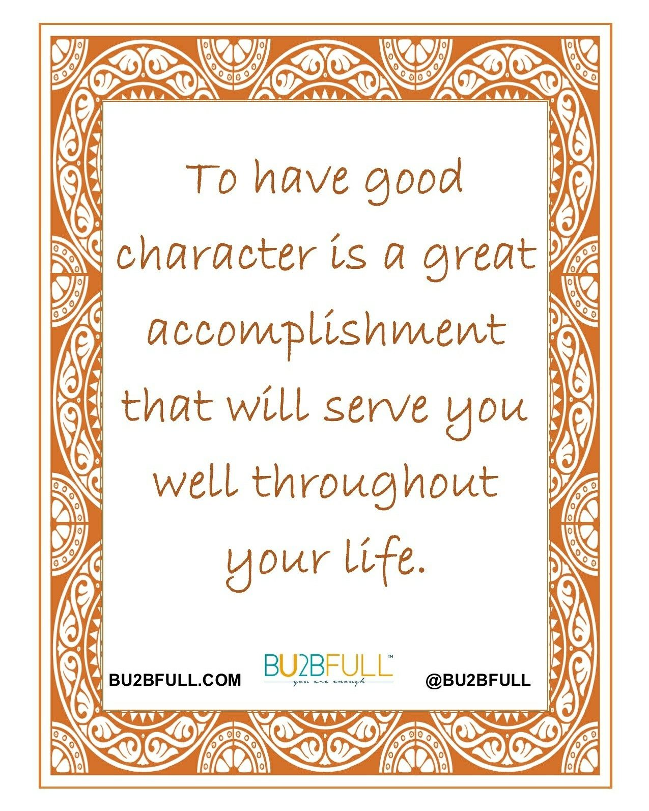 Good Character Is A Must