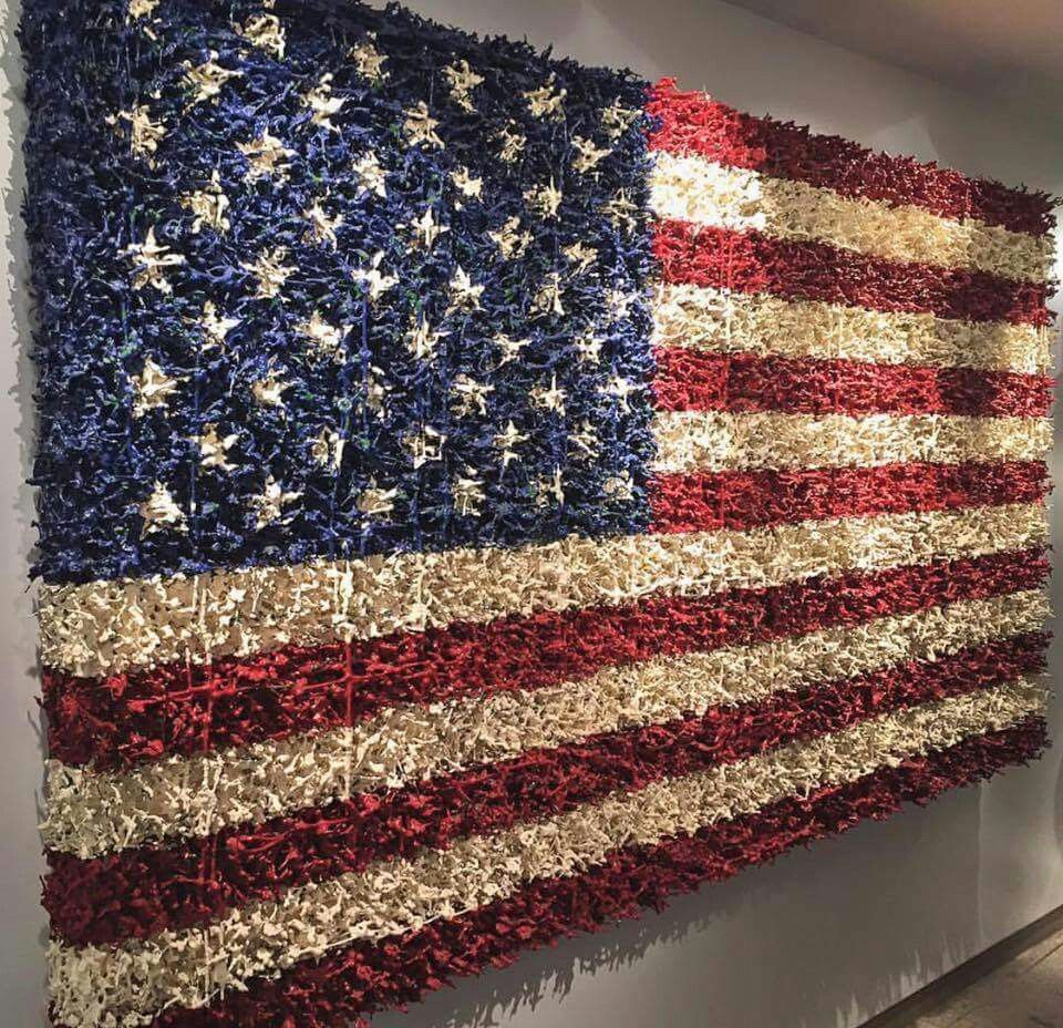 Flag Made From Little Toy Soldiers American Flag Art Army Men Crafts Flag Art
