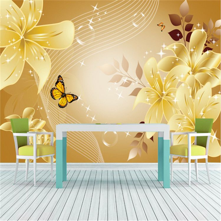 Luxury European Style Flowers & Butterfly Photo Wallpaper Wall Mural ...