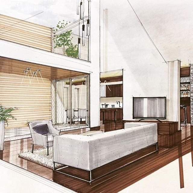 interior design hand drawings. Interior Design Sketches, Rendering, Sketch Design, Hand Sketch, Perspective Drawing, Drawings, Office Interiors, Architectural Presentation, Drawings
