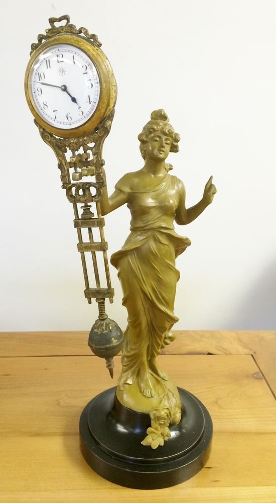 Antique German Junghans Swing Arm Clock And Diana Statue  $374.95