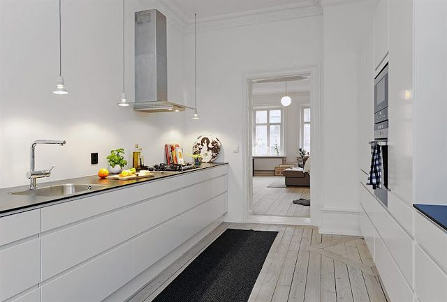 kitchen without upper cabinets- lighting   Scandinavian ...