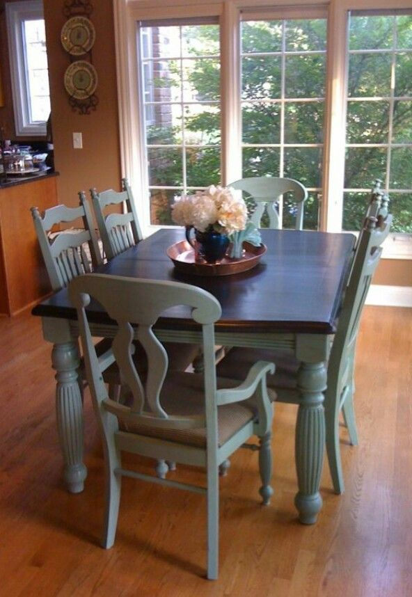 Slate blue chalk paint distressed top refinished 800 Ideas