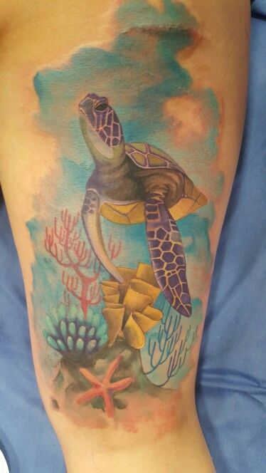 Watercolor Sea Turtle Thigh Tattoo With Images Animal Tattoos