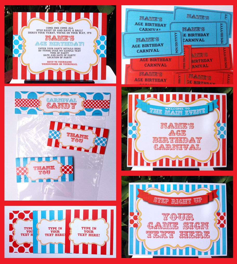 Circus Party Invitations & Decorations - full Printable Package ...