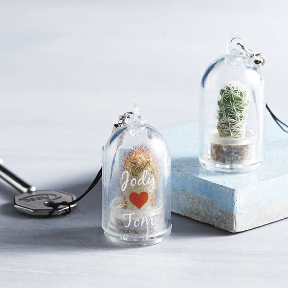 Personalised Mini Terrarium Cactus Keychain Gifts Mini Terrarium