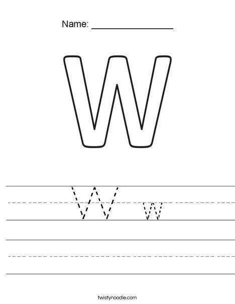 W w Worksheet - Twisty Noodle | Worksheets, Kids prints ...