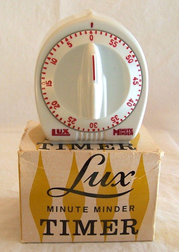 Vintage Lux Minute Minder Kitchen Timer + Box robertshaw white red 1