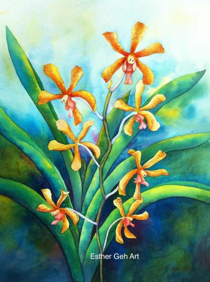 Doodlewash and watercolor painting by Esther Geh of Aranda flowers #WorldWatercolorMonth #doodlewash