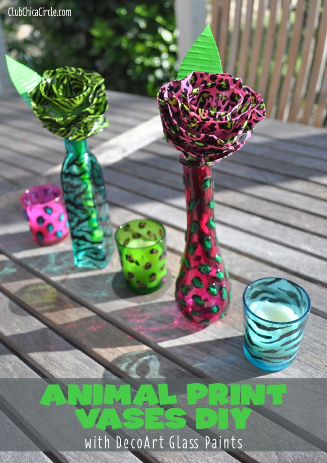 Animal Print Painted Glass Diy Tween Craft Ideas For Mom And