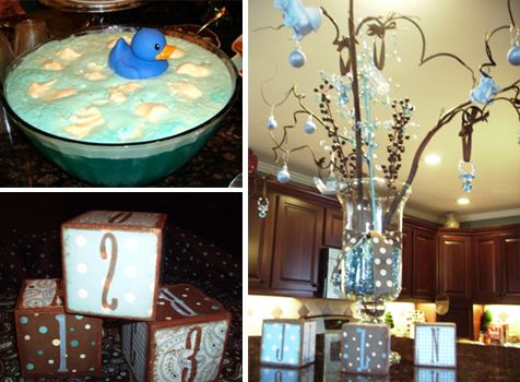 blue and chocolate brown baby shower decorations and table decor totally loving the punch bowl