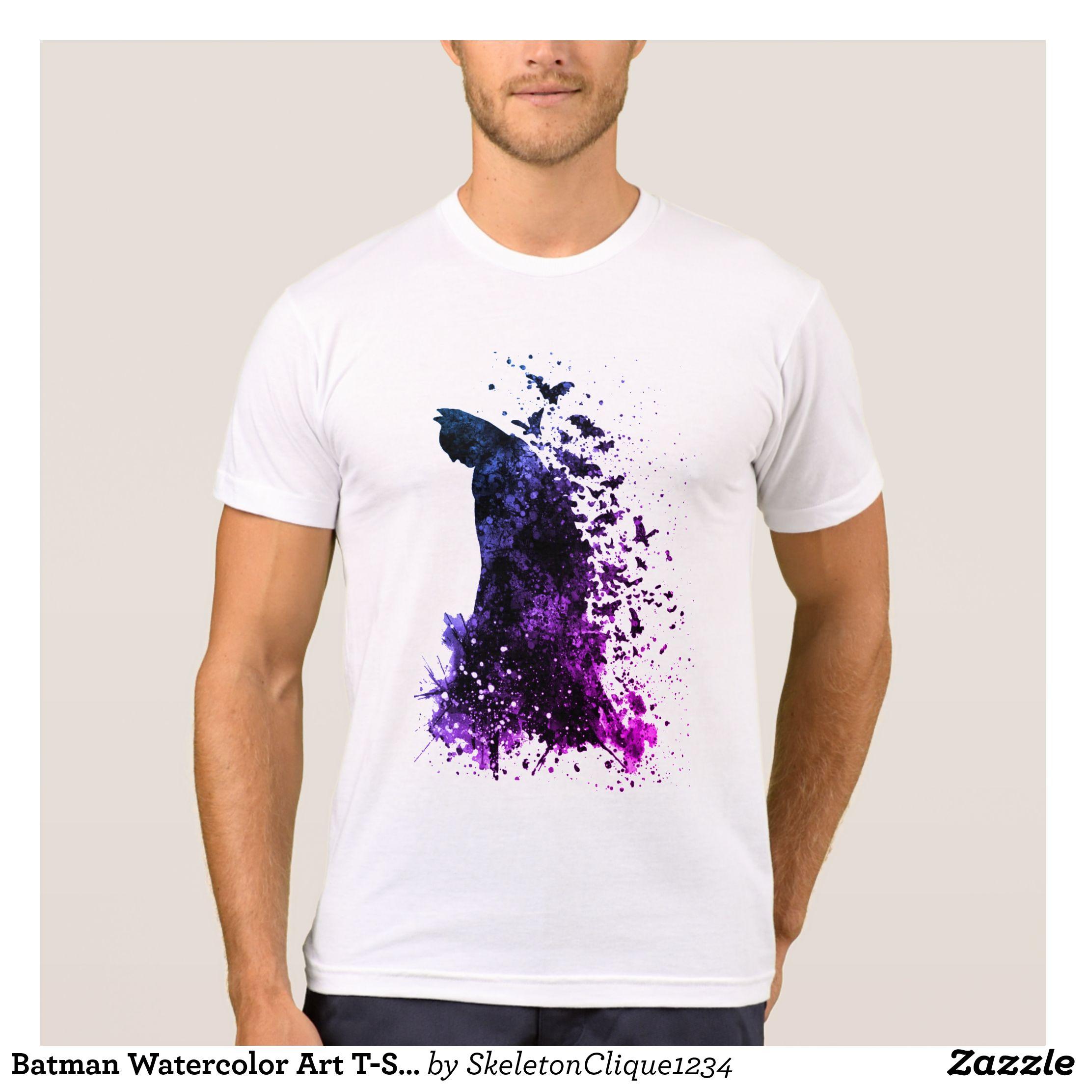 Batman Watercolor Art T Shirt Modern Design Heavyweight Pre
