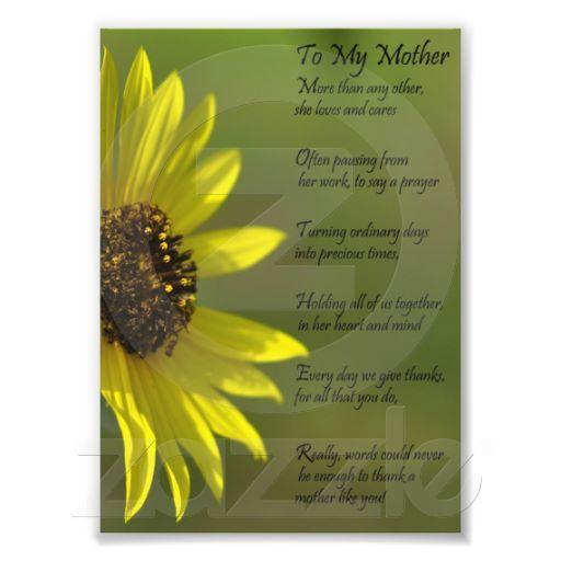 Sunflower Mother Appriciation Thank You Poem Print Zazzle Com Thank You Poems Sunflower Poem You Poem