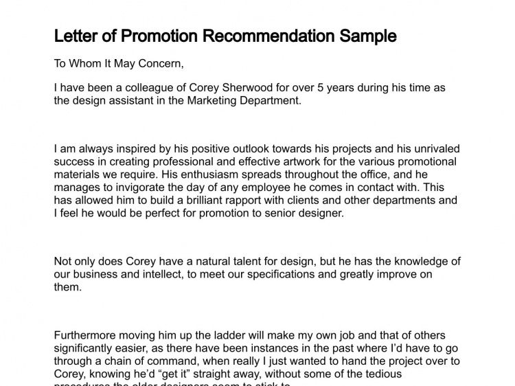 Recommendation Letter For Promotion Letter Of Recommendation