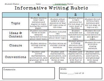 Informative writing rubric 4th grade writing pinterest