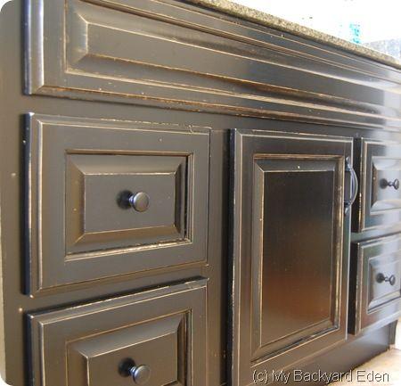 DIY Bathroom Cabinet Tutorial - a dated oak finish cabinet is