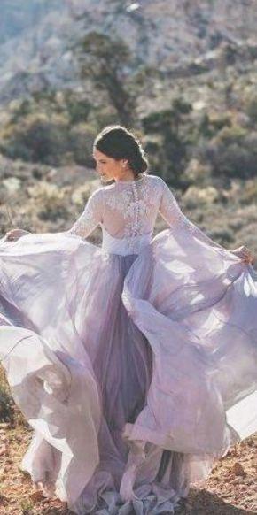 Bunte Brautkleider für nicht-traditionelle Braut ★ lila eine Linie flowy Spitze …