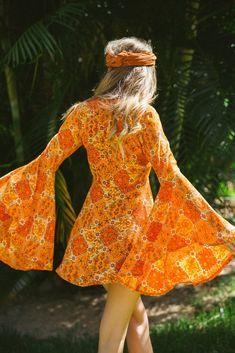 Venus dress in ginger | 70s inspired fashion, 70s vintage fashion, 60s inspired fashion