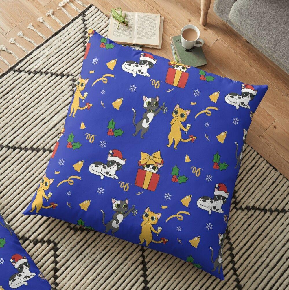 Blue Christmas Cats Floor Pillow