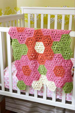 Free Crochet Pattern L0332AD Bright Flower Throw : Lion Brand Yarn Company
