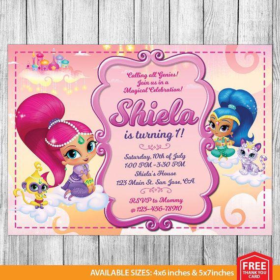 Shimmer And Shine Invitation Shimmer And Shine By Mrpartyinvites Birthday Invitations Personalized Birthday Invitations Birthday Invitations Kids