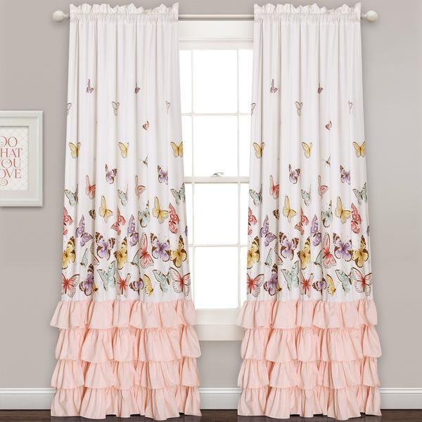 Flutter Butterfly Window Curtain Set Lush Decor Teenage Girl Bedroom Diy Butterfly Room