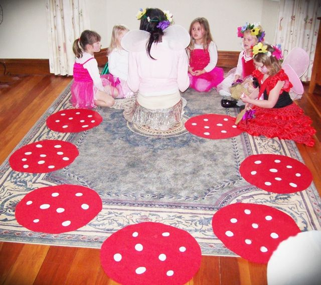 Greatfun4kids: Fairy Party (with Printables)  musical toadstools game with no-sew felt toadstools
