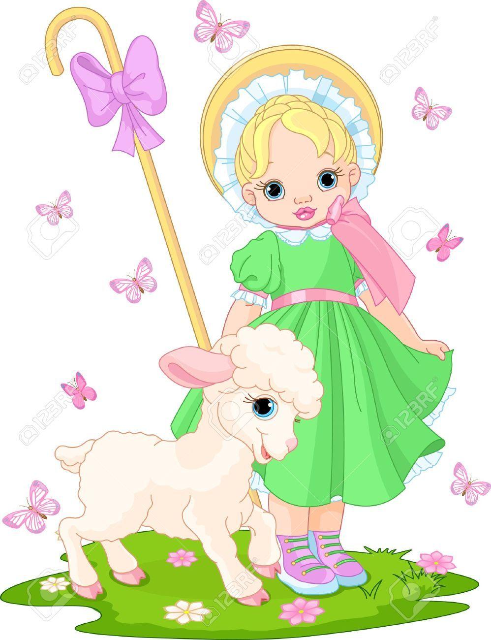 Pastorinha com cordeiro recém-nascido na primavera Prado Free Cliparts grátis, vetores e Ilustração. Imagem 12.485.455.