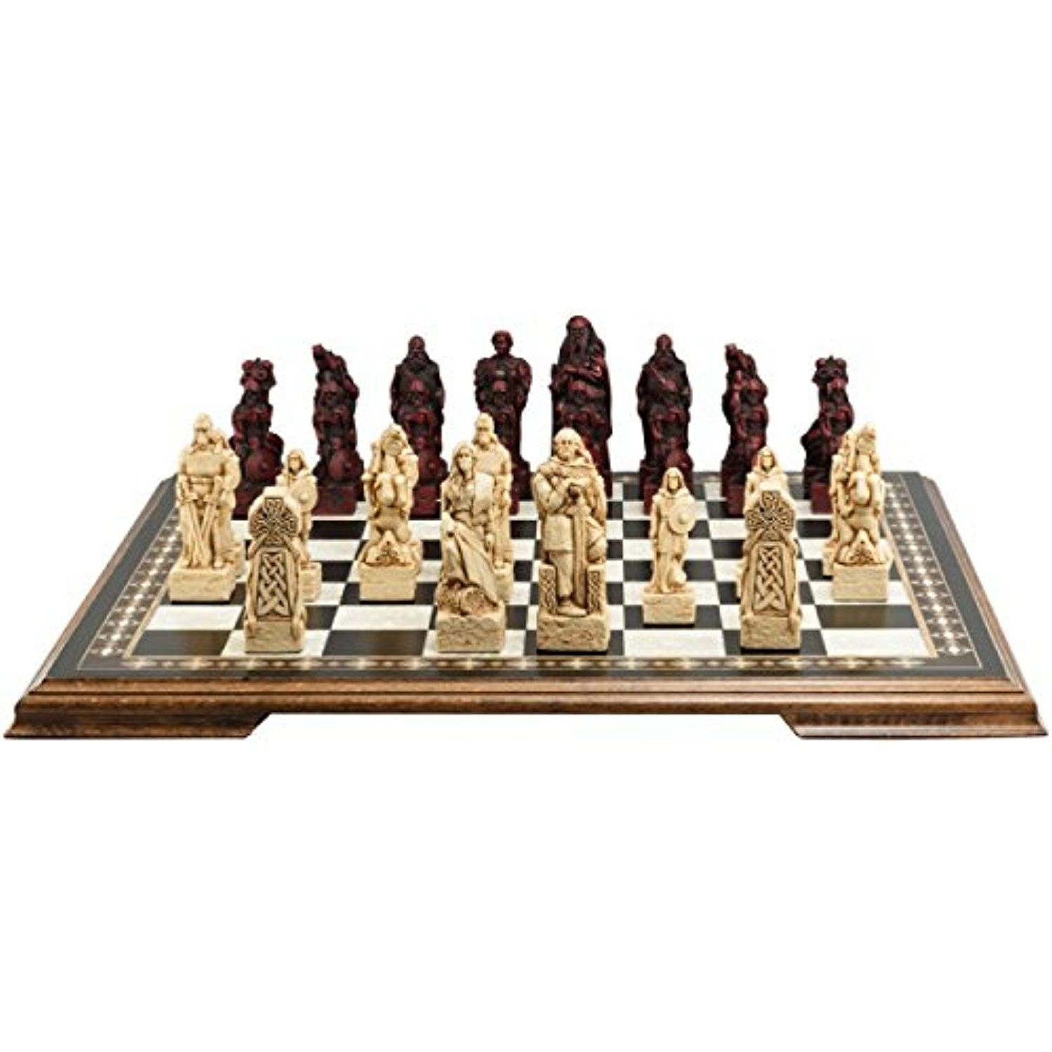 Celtic And Viking Themed Chess Set 4 5 Inches In Presentation Box Handmade In Uk Ivory And Burgundy Read Mor Themed Chess Sets Chess Set Viking Chess