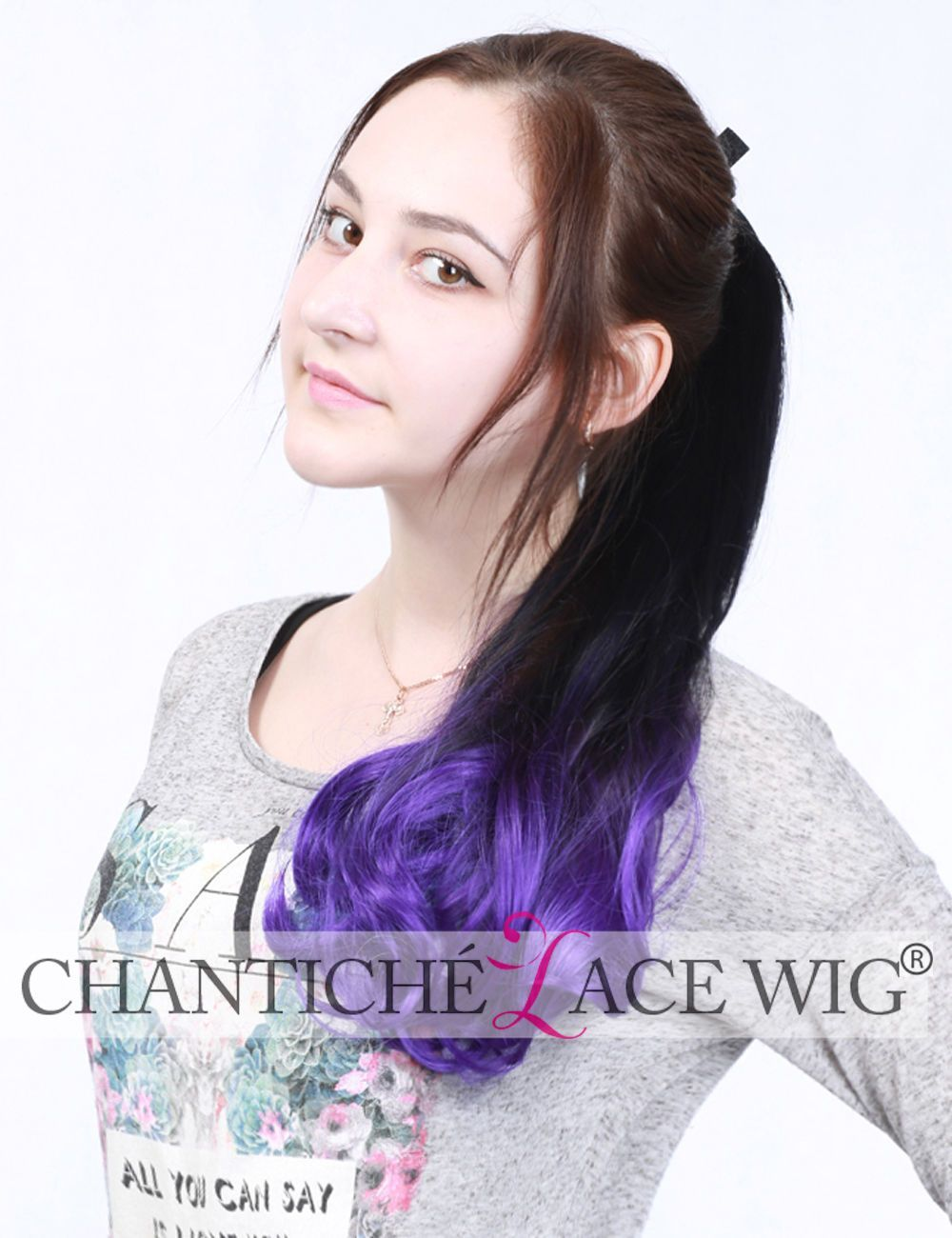 Synthetic Hair Extensions Uk Ombre Daily Ponytails Hair Piece Purple