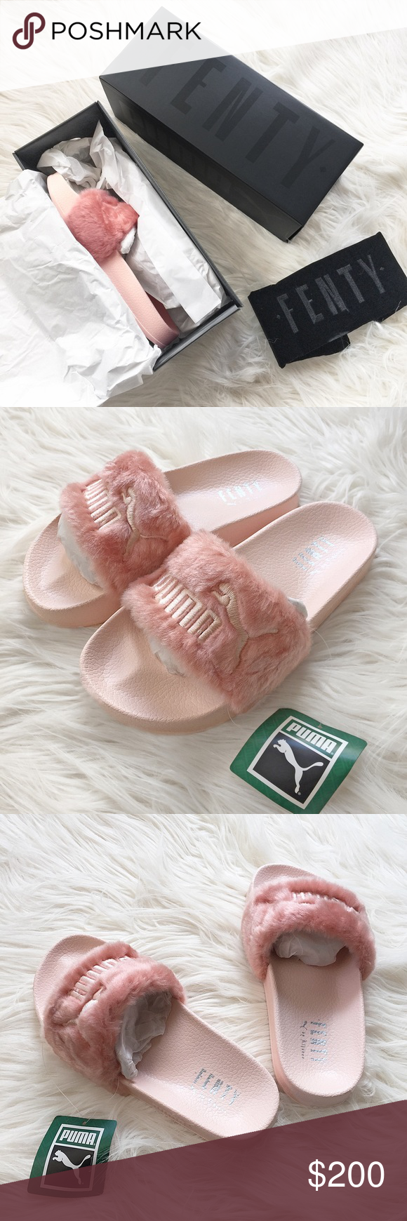 4d330d547cd Puma x Rihanna Fur Fenty Slides in Pink Puma x Rihanna Fur Fenty Slides in  Pink. Brand new with box + dust bag. Women s Size 6.5 and 7.5 available ...