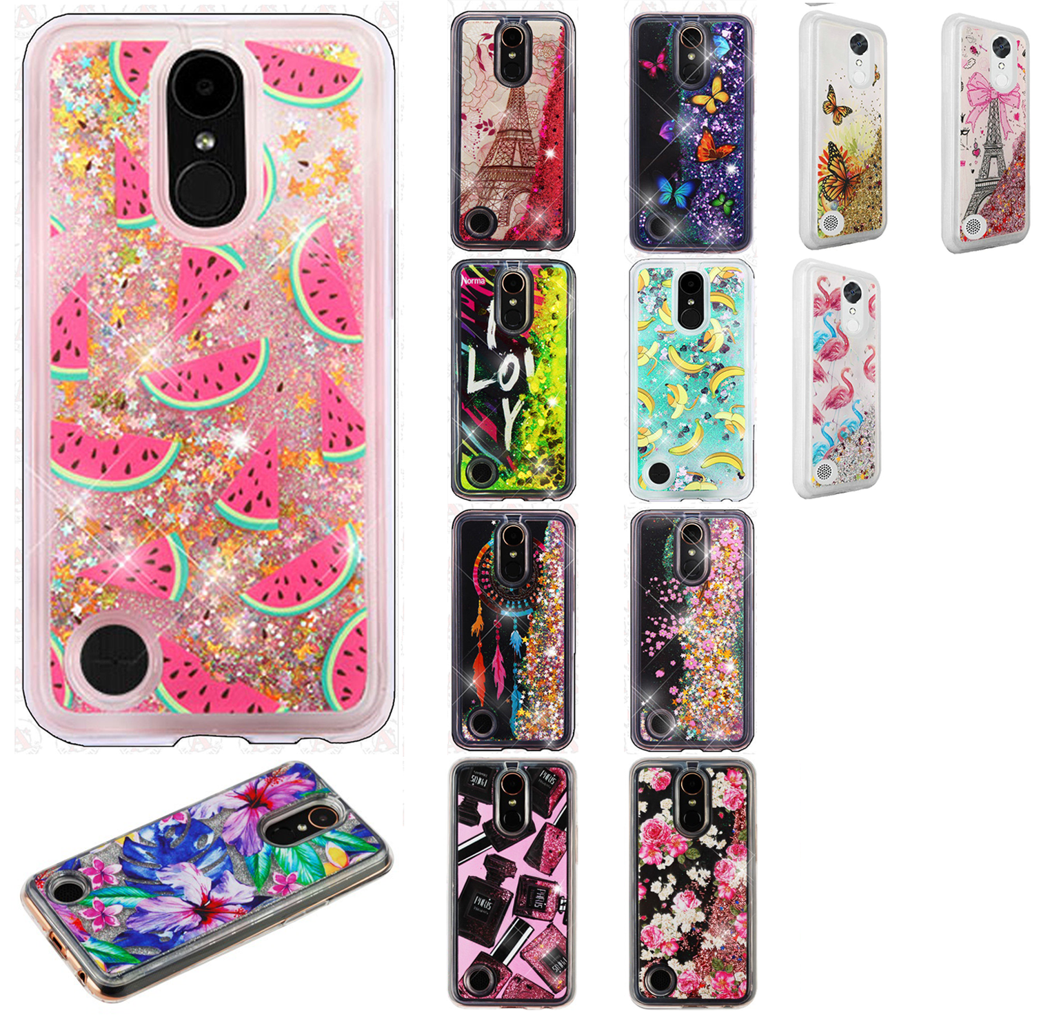 new product 39bb0 a2849 For LG K20 Plus Liquid Glitter Quicksand Hard Case Phone Cover + ...